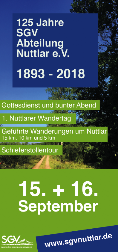 Flyer 125 Jahre SGV Abteilung Nuttlar e.V.