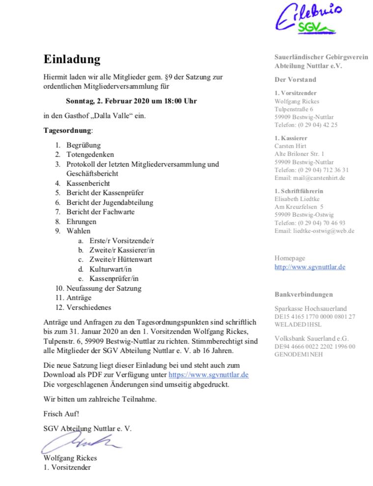 Einladung zur Mitgliederversammlung  des SGV Abt. Nuttlar e.V. am 02.02.2020 im Gasthof Dalla-Valle in Nuttlar